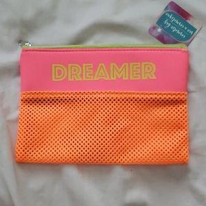 Dreamer Neon Orange Pink Yellow Pouch Access Bag
